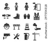 safety icons set | Shutterstock .eps vector #297554318