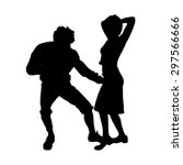 vector silhouette of a dancing... | Shutterstock .eps vector #297566666