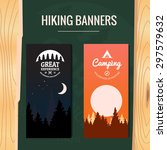 two tourism hiking vertical... | Shutterstock .eps vector #297579632