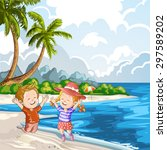 kids playing at the beach | Shutterstock . vector #297589202