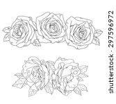 sketch of  roses | Shutterstock .eps vector #297596972