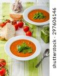 tomato soup with gremolata ... | Shutterstock . vector #297606146