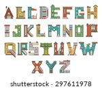 vector font in cartoon style.... | Shutterstock .eps vector #297611978