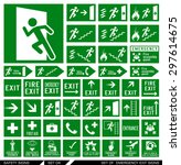 set of safety signs. exit signs.... | Shutterstock .eps vector #297614675