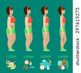 flat woman weight loss steps... | Shutterstock .eps vector #297615275