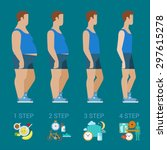 flat man weight loss steps... | Shutterstock .eps vector #297615278