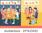 set of stylish family mom dad... | Shutterstock .eps vector #297615452