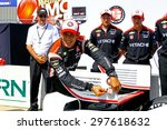 Newton, Iowa USA - July 18, 2015: Verizon IndyCar Series Iowa Corn Indy 300. Quaifying session in high heat and Sunshine. Helio Castroneves wins pole position - stock photo