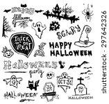 hand drawn halloween doodles | Shutterstock .eps vector #297642326
