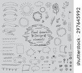 set of hand drawn design... | Shutterstock .eps vector #297645992
