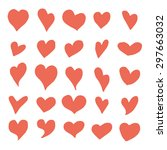 red hearts  vector set ... | Shutterstock .eps vector #297663032