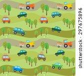 vector funny seamless... | Shutterstock .eps vector #297675896