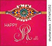happy rakhi greeting card for... | Shutterstock .eps vector #297691352