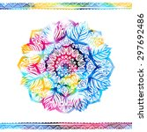 indian floral watercolor... | Shutterstock .eps vector #297692486