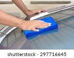 Hand Polishing Car Bonnet With...