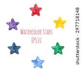 Set Of Watercolor Stars In...