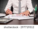 accountant checks the annual... | Shutterstock . vector #297719312