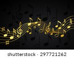 gold music notes on a solid... | Shutterstock .eps vector #297721262