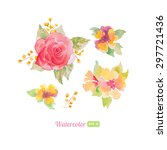 set of watercolor floral... | Shutterstock .eps vector #297721436