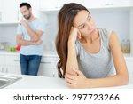 couple having an argument in... | Shutterstock . vector #297723266