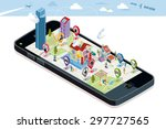 city map above a smart phone.... | Shutterstock .eps vector #297727565