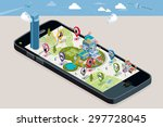 city map with pins  with the... | Shutterstock .eps vector #297728045