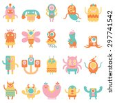 cute monsters set in flat... | Shutterstock .eps vector #297741542