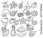 fruits set black and white | Shutterstock .eps vector #297749462