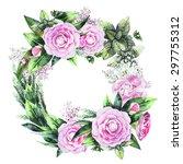 watercolor  camellia wreath ... | Shutterstock . vector #297755312