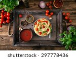 italian cuisine. pasta with... | Shutterstock . vector #297778436