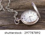 old pocket watch with chain on... | Shutterstock . vector #297787892
