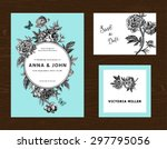 wedding set. menu  save the... | Shutterstock .eps vector #297795056