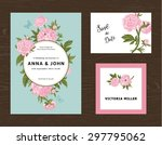 wedding set. menu  save the... | Shutterstock .eps vector #297795062