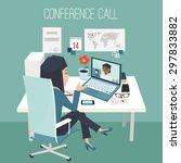 conference call at office. two...   Shutterstock .eps vector #297833882