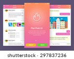 flat pink ui  3 screen   ...