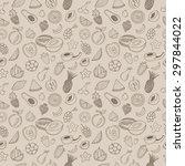 hand drawn fruits seamless... | Shutterstock .eps vector #297844022
