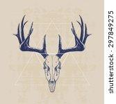 deer skull  hand drawn... | Shutterstock .eps vector #297849275