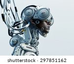 wired black man in robotic... | Shutterstock . vector #297851162