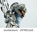 wired black man in robotic... | Shutterstock . vector #297851165