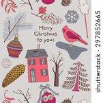 modern vector christmas card... | Shutterstock .eps vector #297852665