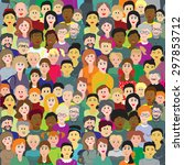 Vector Seamless Pattern  Crowd...