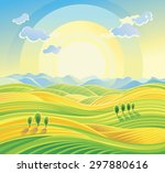 Sunny Rural Landscape With...