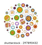 eastern food in circle...   Shutterstock .eps vector #297890432