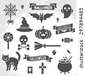 set of halloween ribbons and... | Shutterstock .eps vector #297894485
