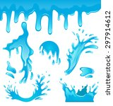 illustration blue water drops ...   Shutterstock .eps vector #297914612