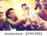 diverse people friends hanging... | Shutterstock . vector #297917852