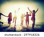 diverse beach summer friends... | Shutterstock . vector #297918326