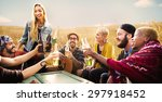 diverse people friends hanging... | Shutterstock . vector #297918452