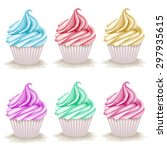 set of hand drawn cupcakes.... | Shutterstock .eps vector #297935615