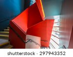 staircase painted in red.... | Shutterstock . vector #297943352